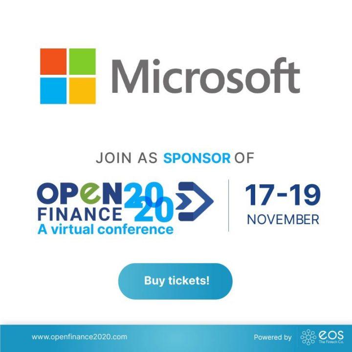 Nos complace anunciar a Microsoft como patrocinador de # OpenFinance2020 🚀